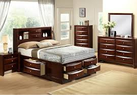 Elements Emily Queen Storage Bed with Dresser and Mirror