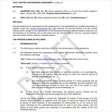 Limited Partnership Agreement Template 7 Limited Partnership Agreement Templates Pdf Free Premium
