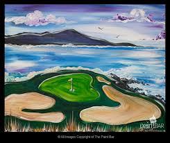pebble beach golf links painting jackie schon the paint bar
