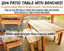 2 x4 patio table bench plans both