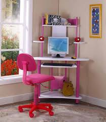 cool computer teenage desk with pink desk chair and pull out keyboard panel in inspiring bedroom