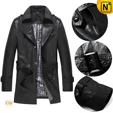mid length leather trench coat cw850801 cwmalls com