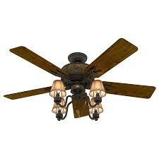 hunter adirondack 52 in brittany bronze indoor ceiling fan with light kit
