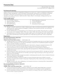 Environmental Specialist Resume Resume For Your Job Application
