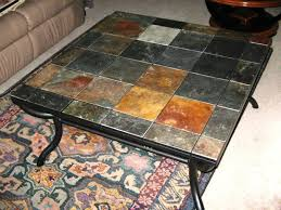 image of coffee table with stone top slate tile