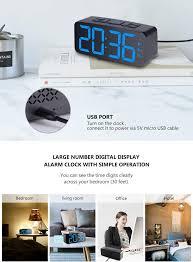 PINGKO <b>Digital</b> Alarm Clock Large Smart <b>LED Display Snooze</b> for ...