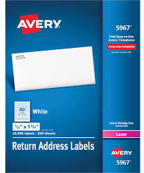 Avery 5967 Return Address Labels 1 2 X 1 3 4 Inches White Pack Of