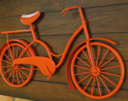 on red bicycle metal wall art with bike wall decor etsy