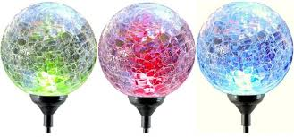 color changing solar powered led light le glass ball garden blub 3 pack