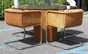 for your consideration is a marvelous rattan and tubular chrome patio set by harvey