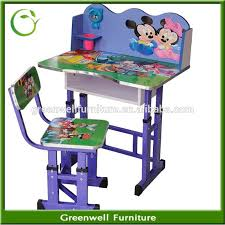 wooden kids study table and chair set for