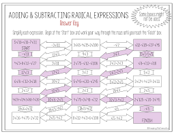 this algebra activity is a maze composed of 14 radical expressions that must be simplified by