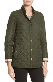 BURBERRY Womens PENSHAM Check Cuffs Diamond Quilted Jacket in ... & BURBERRY Womens PENSHAM Check Cuffs Diamond Quilted Jacket in Military Green  (X-Small) Adamdwight.com