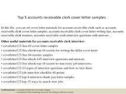 Sample Accounts Receivable Clerk Cover Letter Top 5 Accounts Receivable Clerk Cover Letter Samples