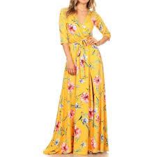 Yellow Floral Faux Wrap Boho Jersey Maxi Dress