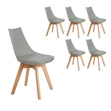 Details Zu 6er Set Holz Küchenstühle Retro Gepolsterter Bürostuhl Esszimmer Grau504882cm