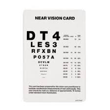 Vision Levels Chart Near Vision Test Card