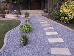 Blue landscape rocks decoration ideas for garden pathway with blue pebble  feat rentangular stone