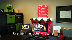 christmas office decoration. Holiday Office IDEA - FIREPLACE Computer Cubicle Fun DIY Christmas Decorations Decoration T