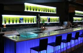 modern bar lighting. Long Modern Bar Table With White Recessed Storage Lighting Plus Black Chairs Also Blue Led K