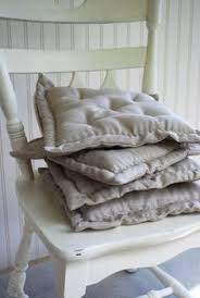 chair pad cushion natural linen hand sched by redcheckmarket