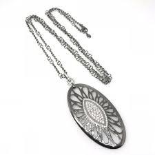 details about bucherer pave diamond pendant necklace in 18k black rhodium gold hm1732bb