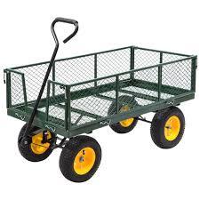 costway garden trolley cart yard garden wagon 1000lb heavy duty multi use 48