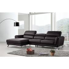 modern leather sofa. Beautiful Modern Divani Casa Doss Modern Black EcoLeather Sectional Sofa On Leather R