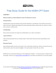 Nasm One Rep Max Chart Free Study Guide For The Nasm Cpt Exam