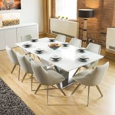 huge 8 seater dining set 2 4mt white glass top table 8 large ice grey chairs