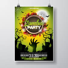 Green Party Flyer Vector Halloween Zombie Party Flyer Design With Typographic
