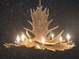 cast moose antler chandelier w downlight 8 lights 50x28 made in usa