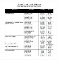 Fram Filter Interchange Chart Free 5 Sample Oil Filter Cross Reference Chart Templates In