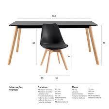 Medidas para mesa de jantar. Mesa De Jantar Retangular 80 X 160 Cm 6 Cadeiras Leda Preto Leroy Merlin
