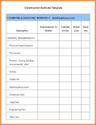 Building Budget Spreadsheet Building Construction Estimate