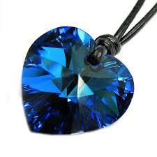 swarovski elements crystal bermuda blue love heart pendant adjustable waxed cotton choker necklace