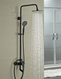 oil rubbed bronze shower head and handheld combo round style faucet set single handle tub mixer tap w hand sprayer rain