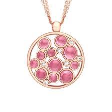diamond and pink tourmaline bubble cer pendant rose gold