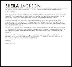 Sample Cover Letter For Hotel Jobs Adriangatton Com