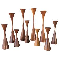 ten sculptural danish modern candlesticks by rude osolnik circa