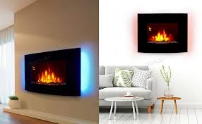 details about wall mounted electric fireplace glass heater fire remote control led backlit new