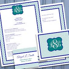 Sorority Recruitment Resume Digital Printable Sorority Recruitment Packet With Resume Added 8