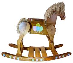 wooden rocking horse balloons painted hand made amish medium farmhouse kids toys and by educational electronics inc