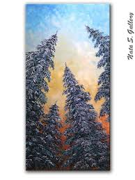 original pine trees painting abstract contemporary by natasgallery
