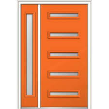 Orange front door Modern 50 In 80 In Davina Frosted Glass Lefthand Inswing 5 Home Depot Orange Mmi Door Front Doors Exterior Doors The Home Depot