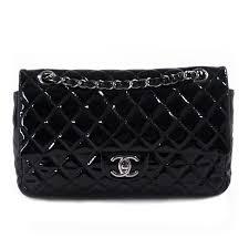 chanel black patent leather medium double flap bag
