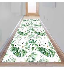 else tropical green leaf geometric triangle 3d print non slip microfiber washable long runner mat floor