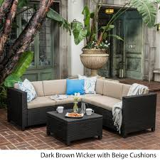 puerta outdoor 6 piece wicker v shaped sectional sofa set by christopher knight home on today overstock 12502410