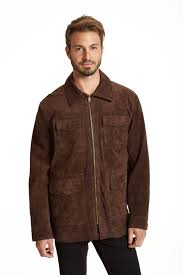 four pocket suede collared jacket