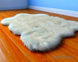 brown tip polar bear extreme thick soft fake bear rug synthetic sheepskin rug